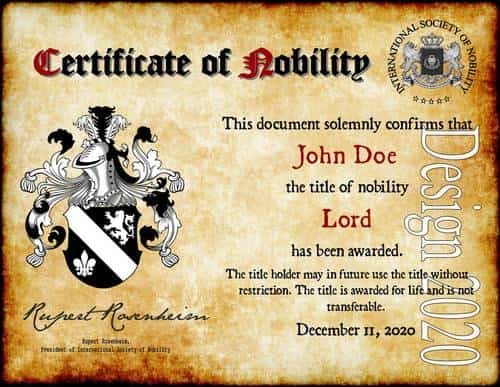 Nobility Titles, English Titles, Coat of Arms, Family Crest