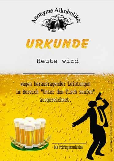 Anonyme Alkoholiker, Alkohol, Auszeichnung, Bier, kostenlos, vorlage, ausdrucken, urkunde, zertifikat, diplom, Geschenke, Geschenkideen