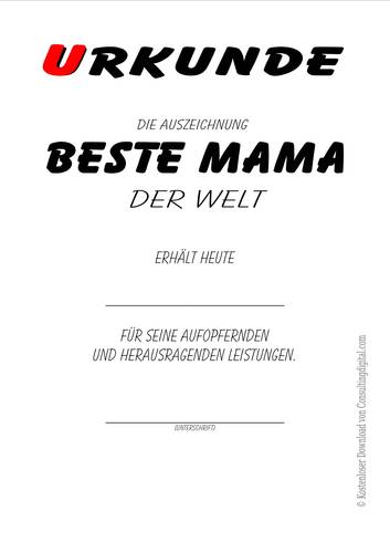 Beste Mama der Welt, kostenlos, vorlage, ausdrucken, urkunde, zertifikat, diplom, Geschenke, Geschenkideen
