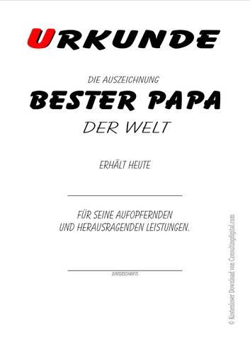 Bester Papa der Welt, kostenlos, vorlage, ausdrucken, urkunde, zertifikat, diplom, Geschenke, Geschenkideen