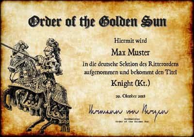 Geschenke, Geschenkideen, Ritter, Ritterorden, Adelstitel